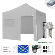 Eurmax Premium 10 X 10 Pop up Canopy Commercial Grade Aluminium Foot Legs with 4 Removable Sidewalls+roller Bag
