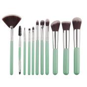 Mezerdoo Professional 11pc Beauty Makeup Fan Brush Set Synthetic Cosmetic Blending Blush Eye Shadow Concealer Brush