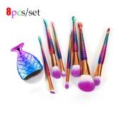 Kixing(TM) 8Pcs Mermaid Shaped Makeup Brush Set Big Fish Tail Foundation Powder Eyeshadow Contour Blending Cosmetic Make-up Brushes