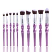 Lisin 10PC Make Up Foundation Eyebrow Eyeliner Eye Shadow Blush Cosmetic Concealer Brushes