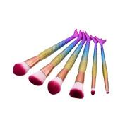 LAIXI Beauty Makeup Brushes Set, 6 pcs Mermaid Cosmetic Beauty Tools Kit with Fish Scale Handle Synthetic Face Powder Foundation Blending Blush Eyeliner Brushes