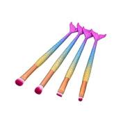 LAIXI Beauty 4 Pcs Mermaid Cosmetic Brushes Set, Face Powder Foundation Blending Blush Eyeliner Eyeshadow Makeup Brushes Tools Kit