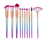 LAIXI Beauty 10 Pieces Colourful Smooth Makeup Brushes Set, Premium Soft Synthetic Bristles with Multicolorful Handles Cosmetic Beauty Tools Kit