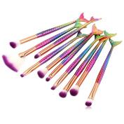 XUANOU 10PCs Bright Colours Fishtail Foundation Eyeshadow Contour Brush Eye Lip Makeup Brushes Set