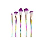 LAIXI Beauty Colourful Spiral Makeup Kit 5 Pcs Makeup Brushes with Slender Handle Set Foundation Contour Blending Lip Eyeshadow Brushes Blush Brushes Travel Kit