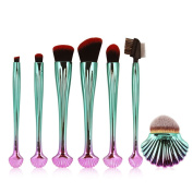 Coshine 7pcs Shell Premium Makeup Brush Set Plastic Handle High Density Soft Nylon Bristles Foundation Blush Eyeshadow Brush