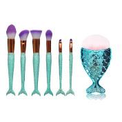 CHUANGLI 7PCS Mermaid Makeup Brush Set Beauty Tools Eyebrow Eyeliner Blush Cosmetic Concealer Brushes & Professional Fishtail Bottom Blush Brush Purple