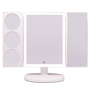 2017 Newest Large Mirror Side(30cm x 24cm ), 44 LEDs High Brightness, Tri-fold Lighted Vanity Makeup Mirror with Touch Screen and 3X/5X/10X Magnification, Travel or Tabletop Cosmetic Mirror