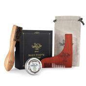 BFWood Beard Shaping Tool and Brush Kit – Unique Facial Hair Beard Brush + Wooden Shaping Template + Beard Balm Sandalwood Scent 30g