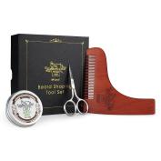 BFWood Beard Shaping Tool and Scissors Kit – Precise Moustache Scissors + Wooden Shaping Template + Beard Balm Sandalwood Scent 30g