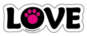 LOVE word magnet - Hot Pink accent paw