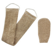 Homgaty Hemp Back Scrubber With Mitt,Natural Exfoliating Hemp Shower Brush Scrubber