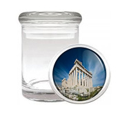 Famous Landmark Acropolis Athens Greece S2 Medical Glass Stash Jar Air Tight Lid 7.6cm x 5.1cm Small Storage Herbs & Spices