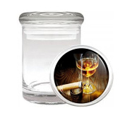 Medical Glass Stash Jar Whiskey In A Glass S3 Air Tight Lid 7.6cm x 5.1cm Small Storage Herbs & Spices