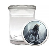 Medical Glass Stash Jar Unicorns Mythical Creature S10 Air Tight Lid 7.6cm x 5.1cm Small Storage Herbs & Spices