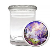 Medical Glass Stash Jar Unicorns Mythical Creature S6 Air Tight Lid 7.6cm x 5.1cm Small Storage Herbs & Spices