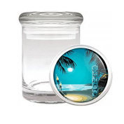 Medical Glass Stash Jar Tiki Statue Bar S6 Air Tight Lid 7.6cm x 5.1cm Small Storage Herbs & Spices
