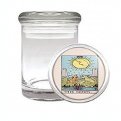 Medical Glass Stash Jar Tarot Card The Moon S20 Air Tight Lid 7.6cm x 5.1cm Small Storage Herbs & Spices