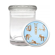 Medical Glass Stash Jar Sloth Cute Furry Animal S4 Air Tight Lid 7.6cm x 5.1cm Small Storage Herbs & Spices