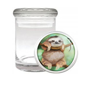 Medical Glass Stash Jar Sloth Cute Furry Animal S2 Air Tight Lid 7.6cm x 5.1cm Small Storage Herbs & Spices