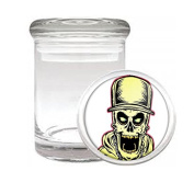 Medical Glass Stash Jar Skeleton Death Skull S3 Air Tight Lid 7.6cm x 5.1cm Small Storage Herbs & Spices