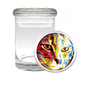 Medical Glass Stash Jar Pop Art Pop Icon Cat S5 Air Tight Lid 7.6cm x 5.1cm Small Storage Herbs & Spices