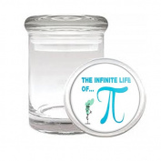 Medical Glass Stash Jar Pi Sign Pi Day 3.14 Math S2 Air Tight Lid 7.6cm x 5.1cm Small Storage Herbs & Spices