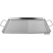 Grill Pan BBQ Griddle Stainless Steel Cooking 41cm Rectangular Basket