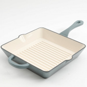 Crock Pot 111993.01 Artisan Enamelled Cast Iron Square Grill Pan, 25cm , Slate Grey
