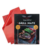 VarchPro Premium Non-stick Teflon Coated Grilling or Baking Mats, Cook Healthier & More Evenly! Easy Clean up With NO Stuck-on Food or Scrubbing! 2 Re-usable Mats with Life Time Guarantee!