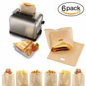 Reusable Toaster Bags , Set of 6 Non-Stick Heat-Resistant Microwaveable for Grill Cheese Sanwiches