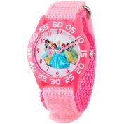 Disney Princess Girls' Plastic Case Watch, Pink Nylon Strap