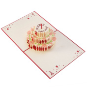 UNOMOR Happy Birthday Card, 3 Layers Cake Pop Up Card with Cute Red Candle, Envelope Included