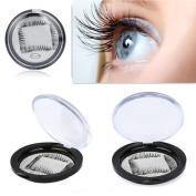 Natural Magnetic Eye Lashes,Vanvler 0.2mm Ultra-thin Reusable 3D False Magnet Eyelashes with Crystal Box