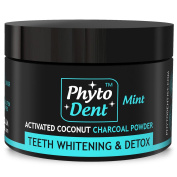 Activated Coconut Charcoal Powder PHYTO DENT - The best Natural Teeth Whitening Solution - Refresh your Breath and Make your Smile Attractive - 100% Organic Product and GMO Free ingredients.