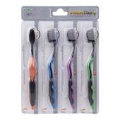 Niceskin Toothbrushs, Ultra Soft Bamboo Charcoal Nano Brush for Adult, 4 Pcs/Set