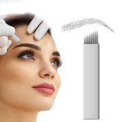 PFT 50pcs 14 Needle Curved Flat Permanent Makeup Needle Manual Eyebrow Tattoo Microblade Sloped 14 Needle