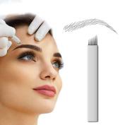 PFT 50pcs 7 Needle Curved Flat Permanent Makeup Needle Manual Eyebrow Tattoo Microblade Sloped 7 Needle