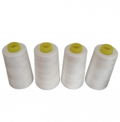 CW TEXTILE 4 Pack Of 6000 Yard White 100% Spun Polyester Sewing Threads Spool(402)For Both Hand Sewing And Sewing Machine Serger Sewing Machine
