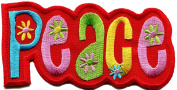 5.1cm x 10cm Peace boho retro flower power summer of love hippie embroidered applique iron-on patch new
