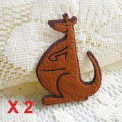 Felt Applique 50x40mm Iron on Applique Brown Kangaroo Australia Animal kawaii applique (Set of 2) C002