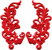 6.4cm x 12cm Red trim fringe retro boho granny chic sew sewing embellishment embroidered appliques iron-on patches