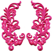 6.4cm x 12cm Pink trim fringe retro boho granny chic sew sewing embellishment embroidered appliques iron-on patches