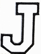 Black - white J letter Patch Symbol Jacket T-shirt Patch Sew Iron on Embroidered Sign Badge Costume. 3.8cm x 5.1cm .
