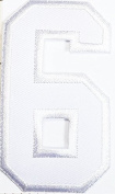 Number 6 (White) Patch Patch Symbol Jacket T-shirt Patch Sew Iron on Embroidered Sign Badge Costume. 4.4cm x 7.6cm .