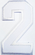 Number 2 (White) Patch Patch Symbol Jacket T-shirt Patch Sew Iron on Embroidered Sign Badge Costume. 4.4cm x 7.6cm .