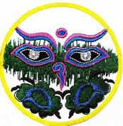 Eye Om Beautiful Hindu Buddha buddhist trance yoga retro boho hippie patch Symbol Jacket T-shirt Patch Sew Iron on Embroidered Sign Badge Costume. 7.2cm x 7.2cm .