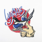 Bird in hand Patch(Blue,Red)Iron On Embroidered Applique Sequin Decoration Patches DIY Sew on Patch for Jeans, Clothing,Shoes(20cm X 21cm )