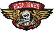 Papapatch Free Biker Skull Wings Dead Bone Skeleton Horror Biker Punk Rock Ride Motorcycle Jacket Applique Embroidered Sew on Iron on Patch