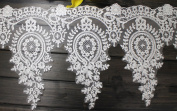 33cm Width Retro Ivory Corded Embroidery lace Bridal Lace Trim Lace Trim for Bridal Gown Veils 1 Yard